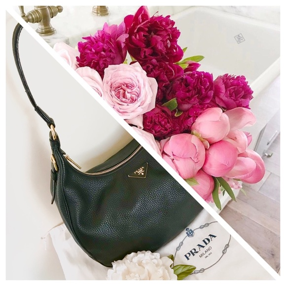 PRADA Black Leather Vitello Daino Large Hobo Bag